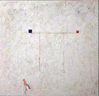 "A Fragile Balance, 1997, encaustic/panel, 60""x60"""