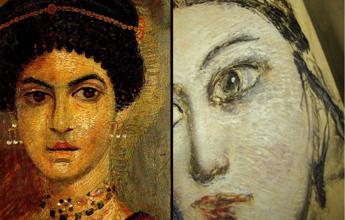 "Fayum ""Jewelry Girl"" next to a sketch by Benitez"